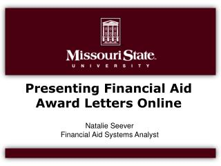 Presenting Financial Aid Award Letters Online