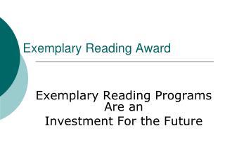 Exemplary Reading Award
