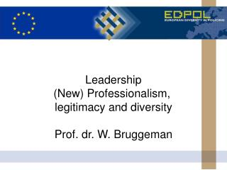 Leadership (New) Professionalism,  legitimacy and diversity Prof. dr. W. Bruggeman