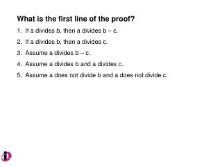 What is the first line of the proof? If a divides b, then a divides b – c.