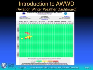 Introduction to AWWD (Aviation Winter Weather Dashboard)