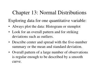 Chapter 13: Normal Distributions
