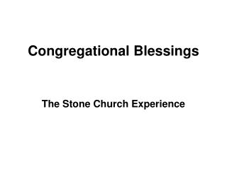 Congregational Blessings