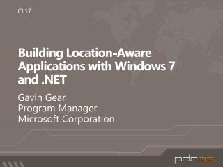 Building Location-Aware Applications with Windows 7  and
