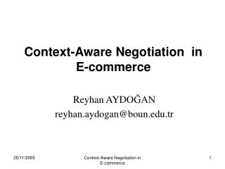Context-Aware Negotiation  in  E-commerce