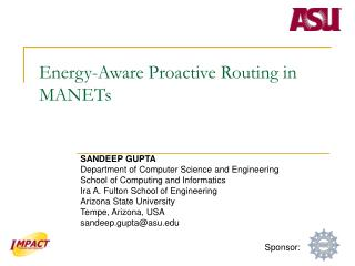Energy-Aware Proactive Routing in MANETs