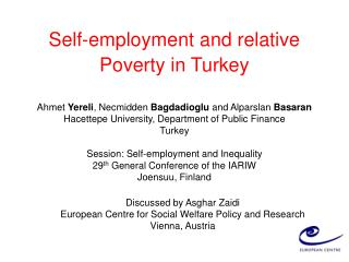 Self-employment and relative Poverty in Turkey