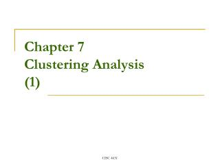Chapter 7 Clustering Analysis (1)