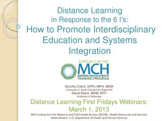 Distance Learning  in Response to the 6 I ' s: