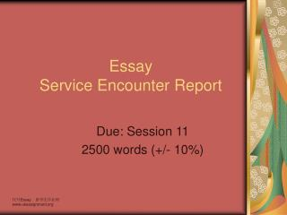 Essay Service Encounter Report