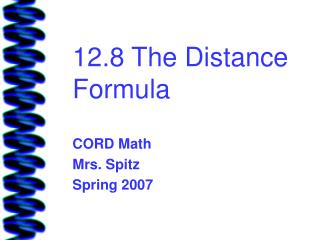 12.8 The Distance Formula