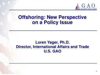 Offshoring: New Perspective  on a Policy Issue