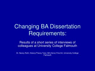 Changing BA Dissertation Requirements: