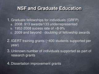 NSF and Graduate Education
