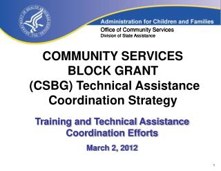 COMMUNITY SERVICES  BLOCK GRANT  (CSBG) Technical Assistance Coordination Strategy