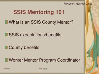 SSIS Mentoring 101