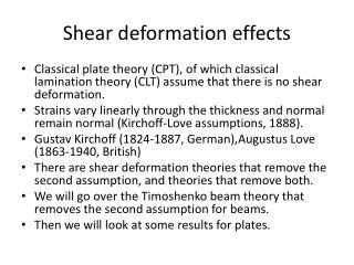 Shear deformation effects