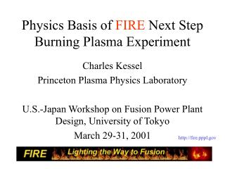 Physics Basis of  FIRE  Next Step Burning Plasma Experiment