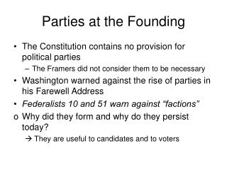Parties at the Founding
