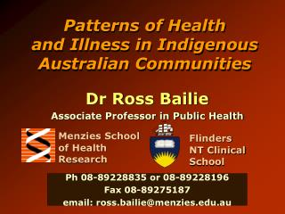 Patterns of Health and Illness in Indigenous Australian Communities