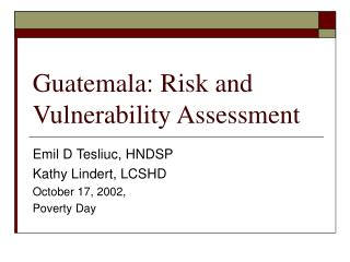 Guatemala: Risk and Vulnerability Assessment