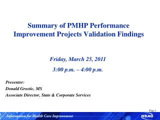 Summary of PMHP Performance Improvement Projects Validation Findings