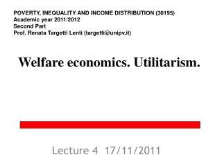 Welfare economics.  Utilitarism.