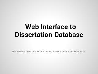 Web Interface to Dissertation Database
