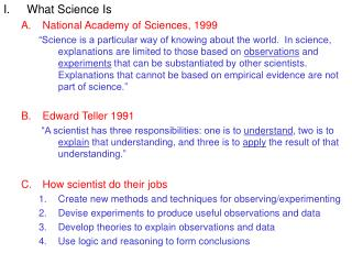 What Science Is National Academy of Sciences, 1999