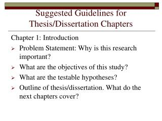 Suggested Guidelines for Thesis/Dissertation Chapters