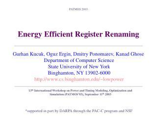 Energy Efficient Register Renaming