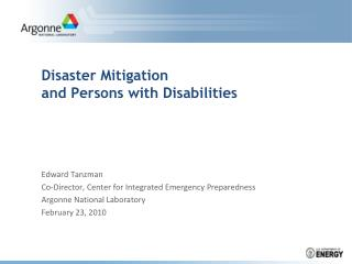 Disaster Mitigation and Persons with Disabilities