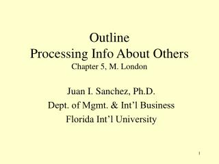 Outline Processing Info About Others Chapter 5, M. London