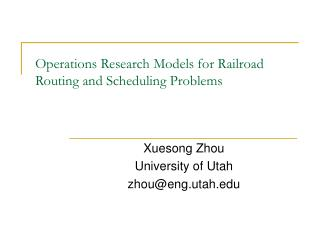 Operations Research Models for Railroad Routing and Scheduling Problems