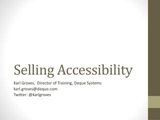 Selling Accessibility