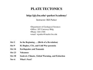 PLATE TECTONICS http://gly.fsu.edu/~parker/Academy/ Instructor: Bill Parker