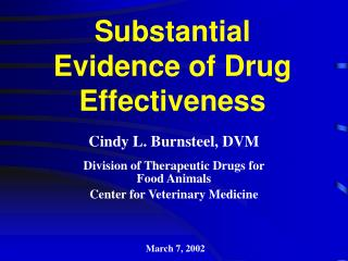 Substantial  Evidence of Drug Effectiveness