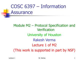 COSC 6397 – Information Assurance