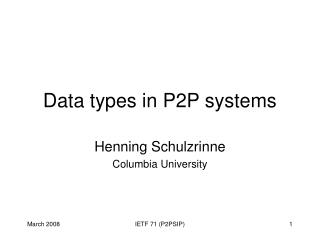 Data types in P2P systems