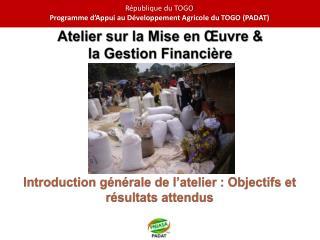 Introduction générale de l'atelier : Objectifs et résultats attendus