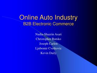 Online Auto Industry B2B Electronic Commerce