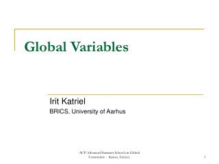 Global Variables