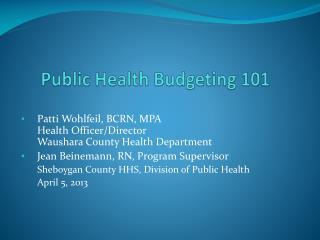 Public Health Budgeting 101