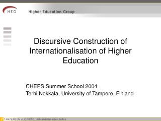 Discursive Construction of Internationalisation of Higher Education