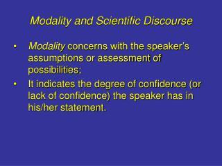 Modality and Scientific Discourse