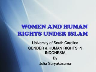 WOMEN AND HUMAN RIGHTS UNDER ISLAM