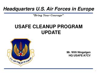 USAFE CLEANUP PROGRAM UPDATE