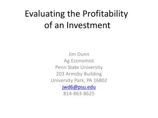 Evaluating the Profitability  of an Investment