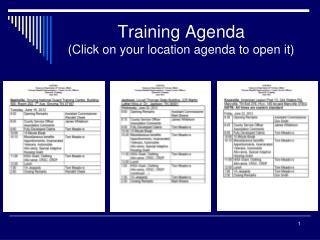 Training Agenda (Click on your location agenda to open it)