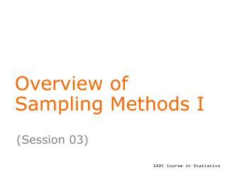 Overview of  Sampling Methods I
